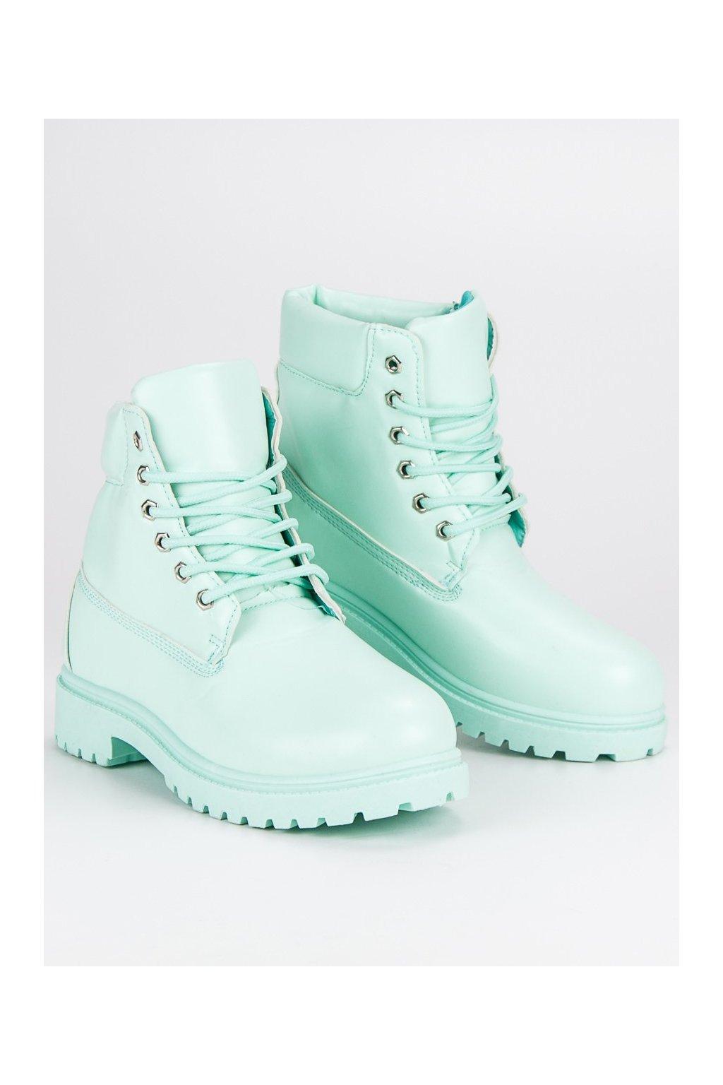 Pastelové dámske topánky na zimu traperky zelené  950b23dc738