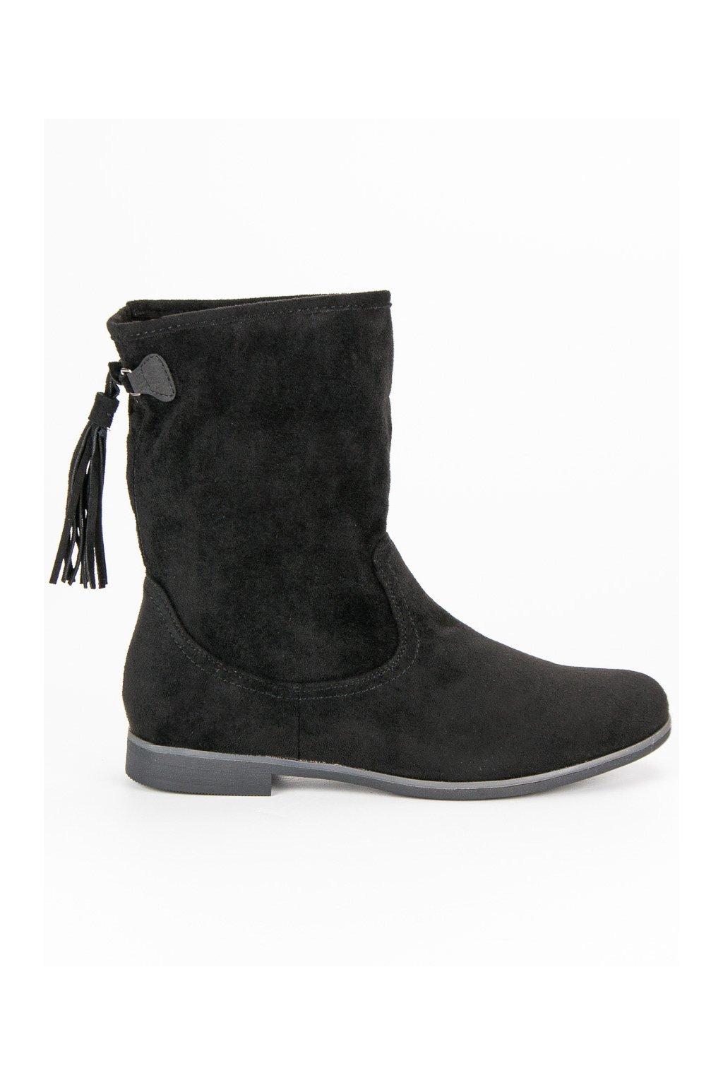 Čierne dámske topánky na plochom opätku Weide HFN-811B