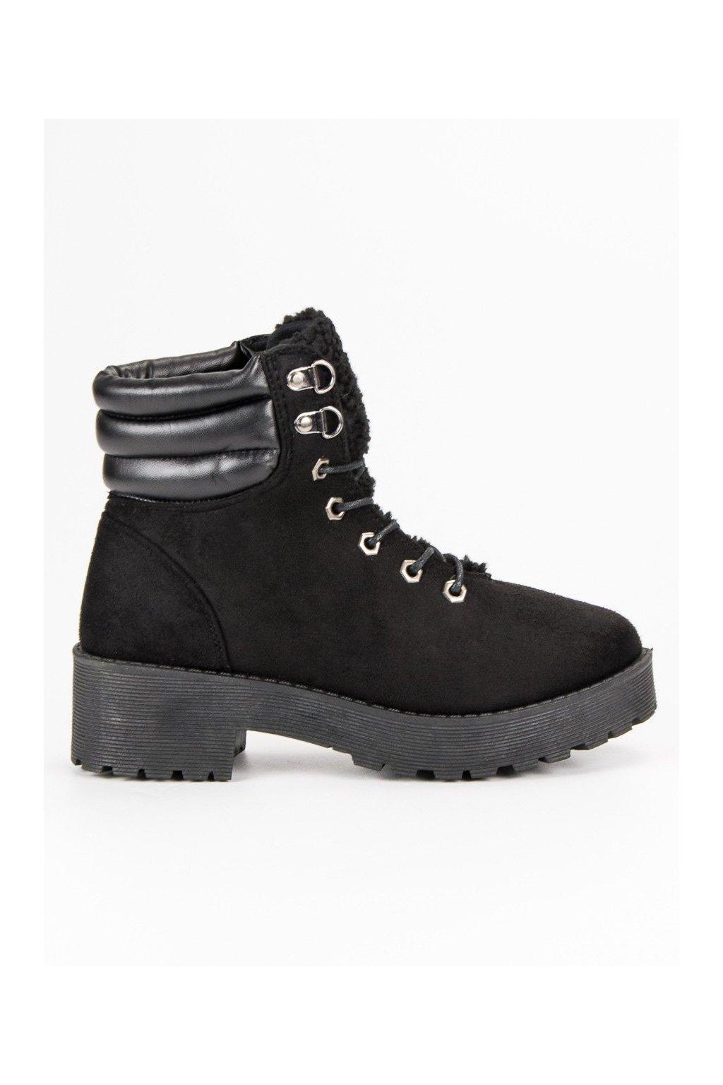 Dámske topánky na zimu semišové trapery čierne  b8fb93b25ba