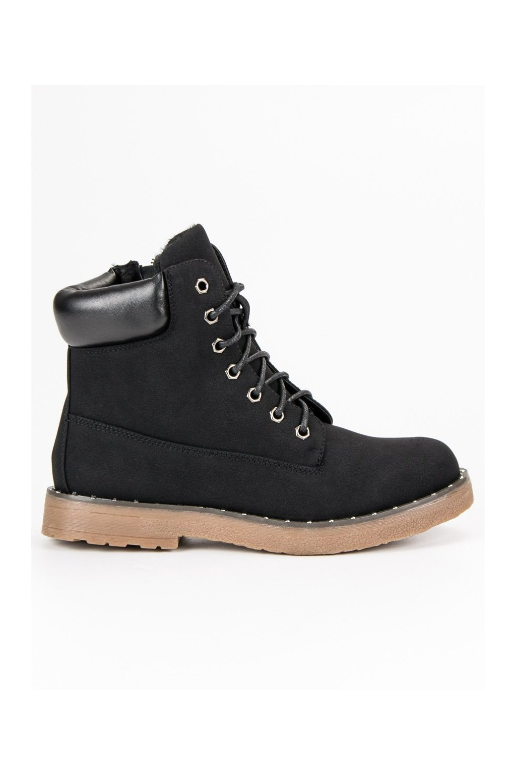 Čierne dámske topánky na zimu trapery  3b3efb430b