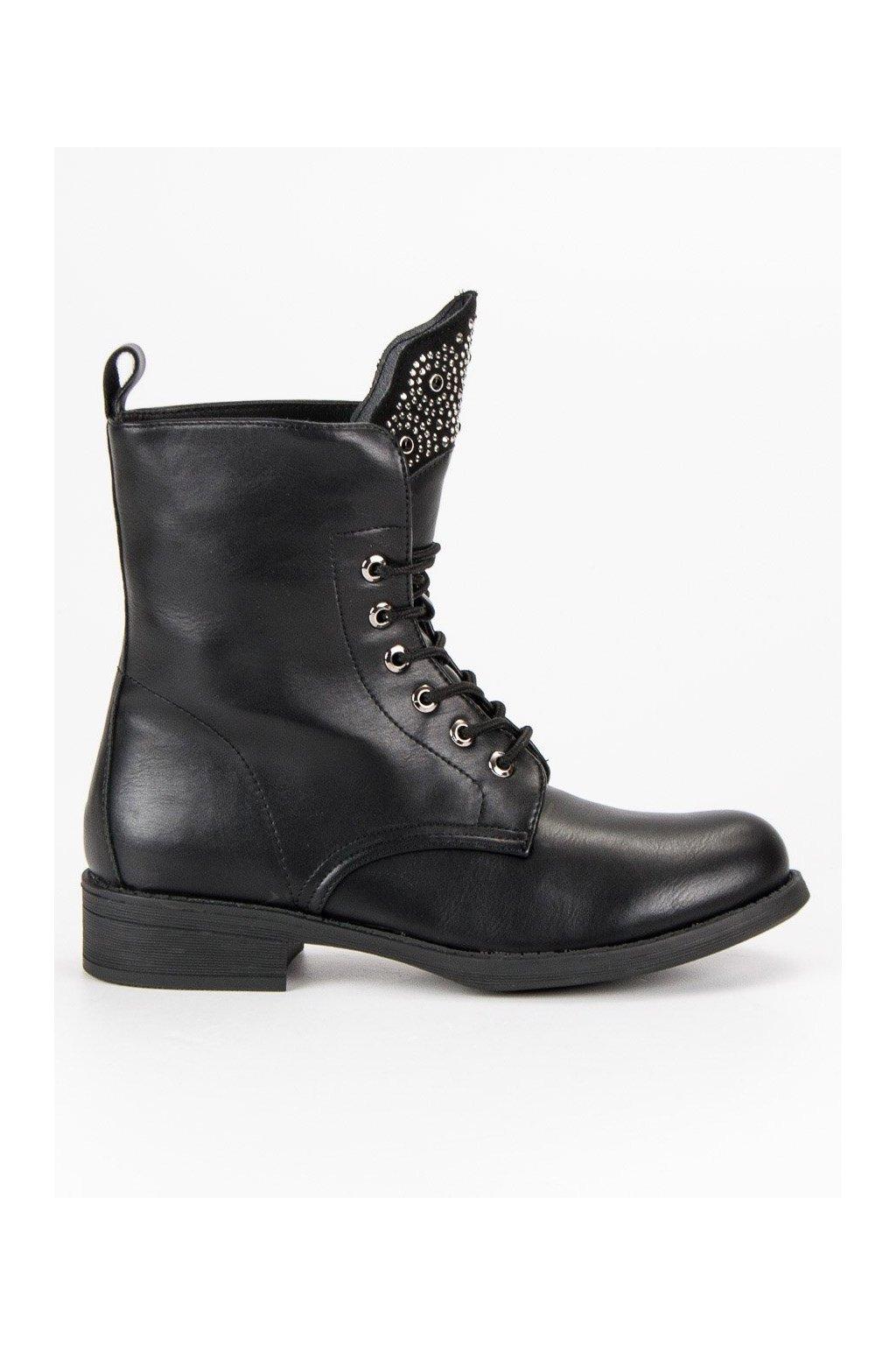 Semišové topánky dámske čierne workery  9749026db0e
