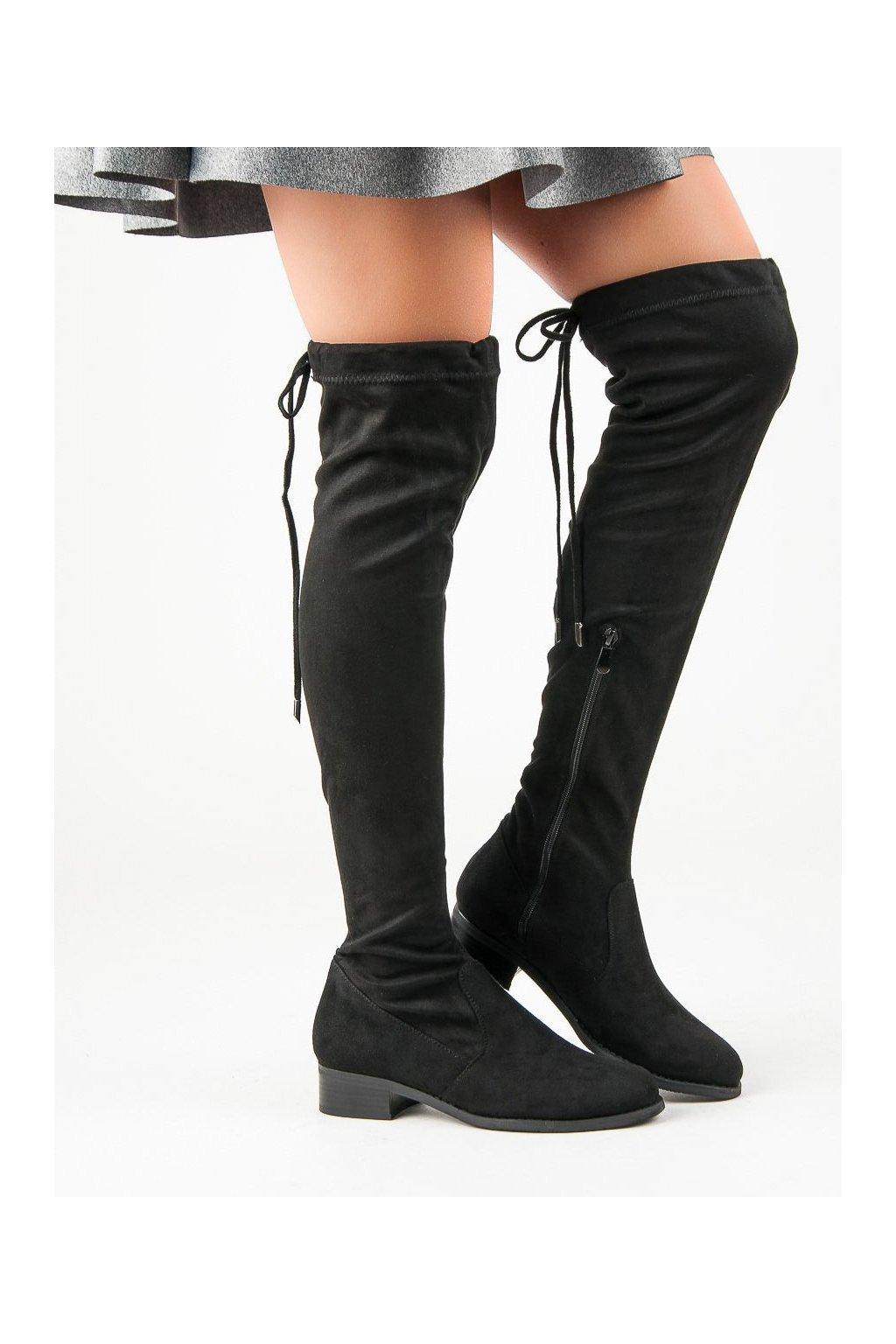 9792eab00 Štýlové čierne čižmy nad koleno mušketierky Seastar | NAJ.SK