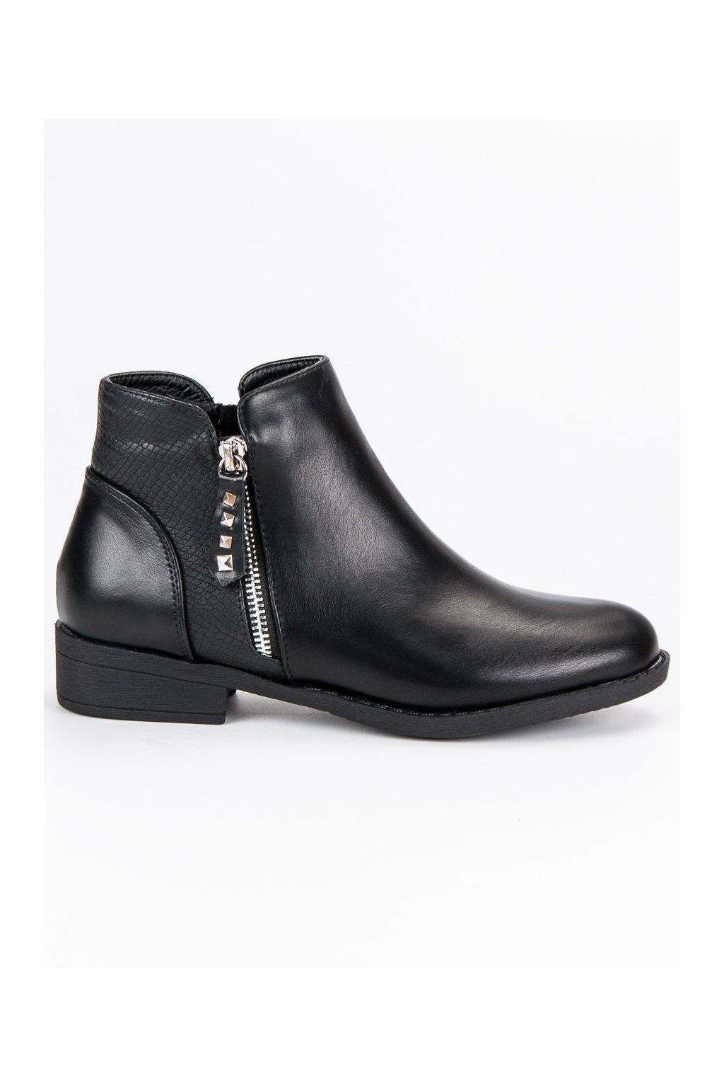 Nízke topánky čierne členkové čižmy CnB 58e98b508af