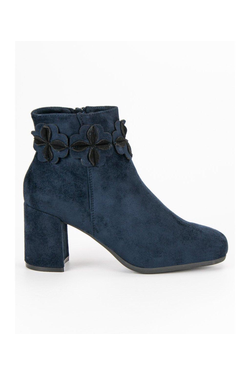 Tmavo modré topánky semišové čižmy Kylie