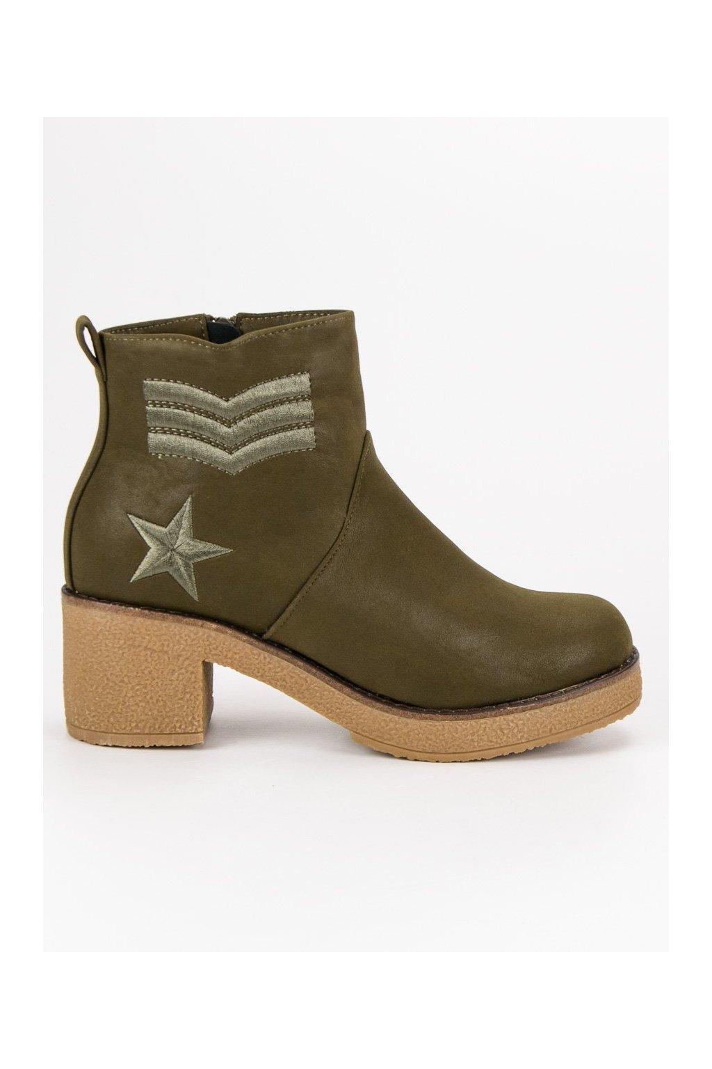 Zelené topánky vojenské workery Kylie