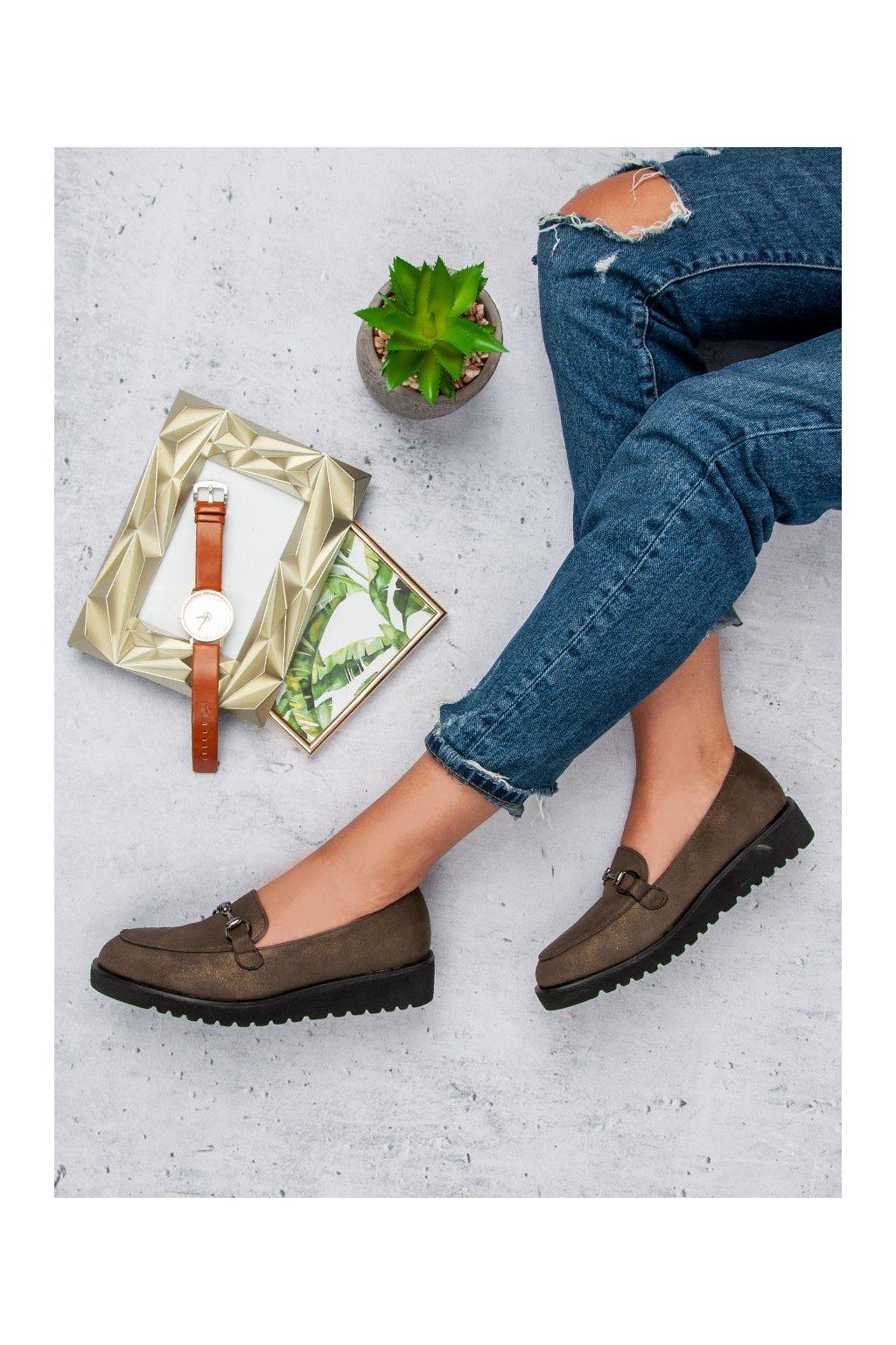 Štýlové zelené topánky dámske mokasíny Kylie