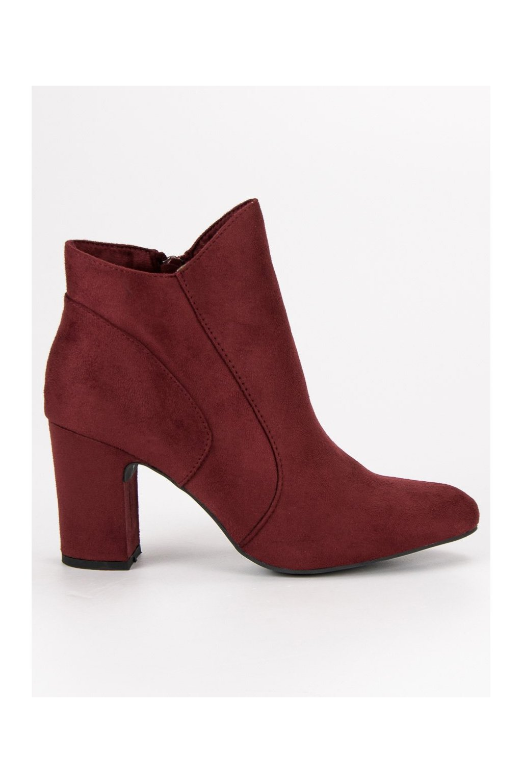 Elegantné topánky červené členkové čižmy so semišu Kylie 173612854d0