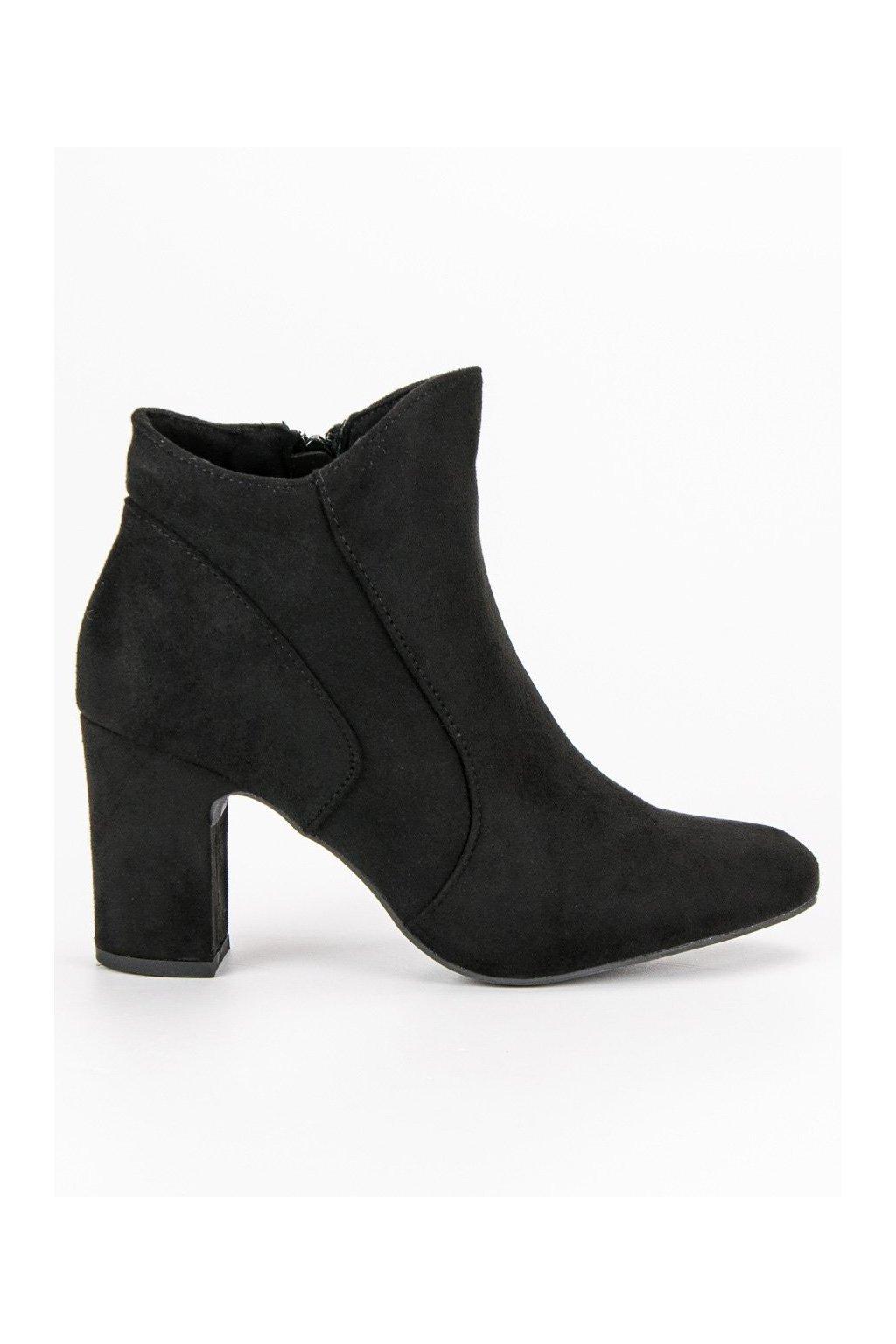 Elegantné topánky čierne členkové čižmy so semišu Kylie