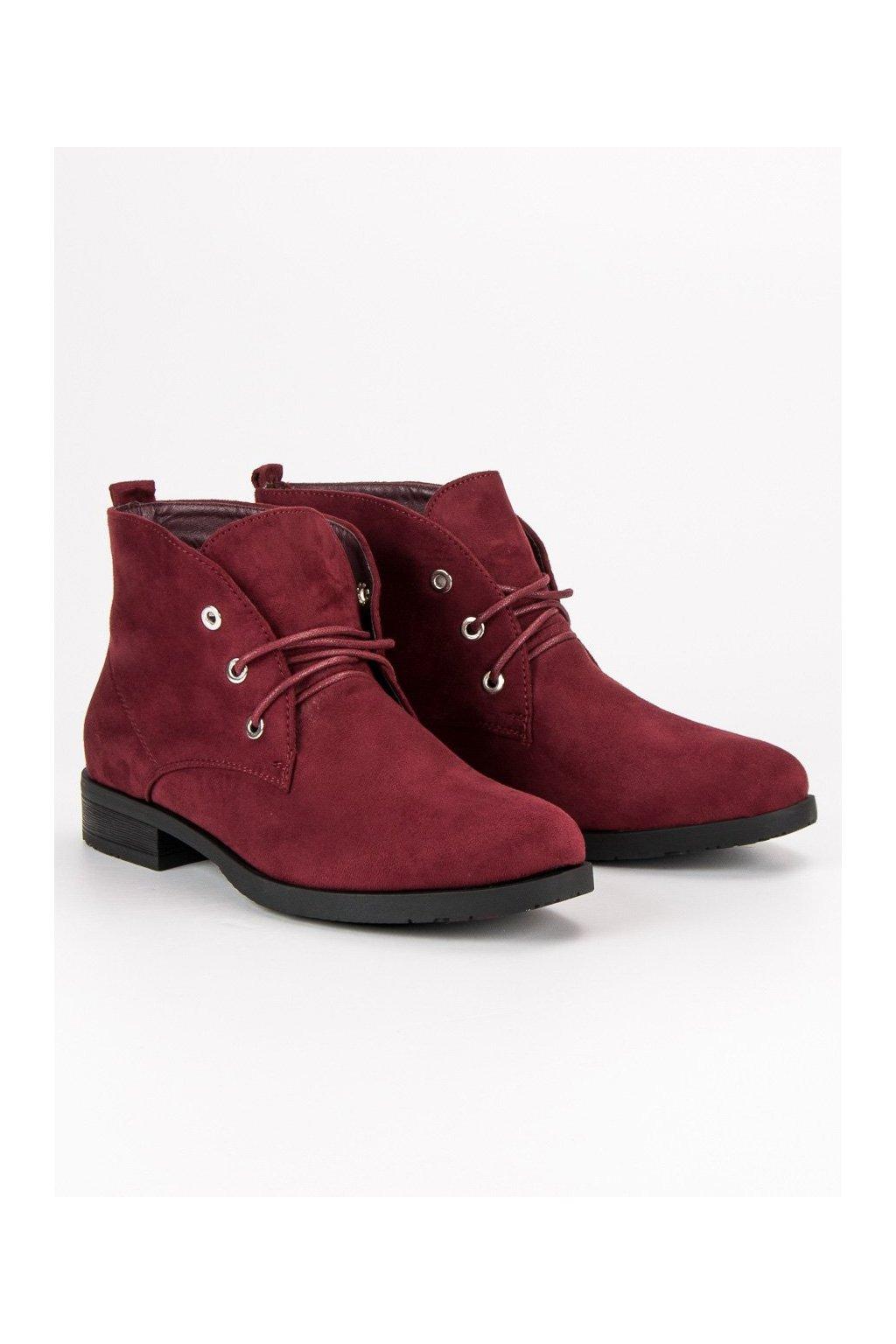 Nízke semišové topánky červené členkové čižmy Sweet Shoes 8d2dcdf304e
