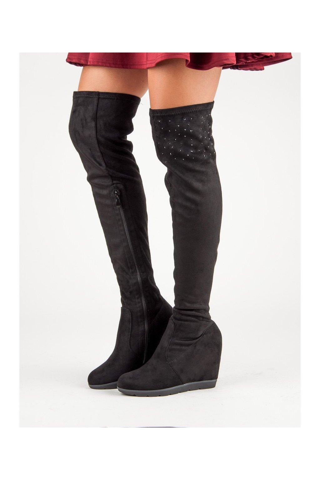 Čierne čižmy nad koleno vysoké mušketierky Kayla