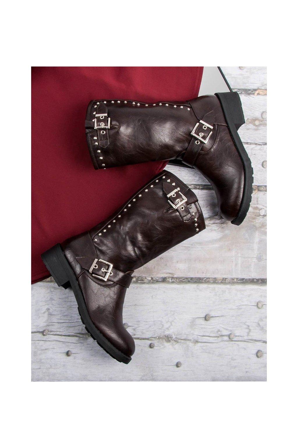 Vysoké topánky čižmy workery v béžovej farbe SDS 6ed739f83c1