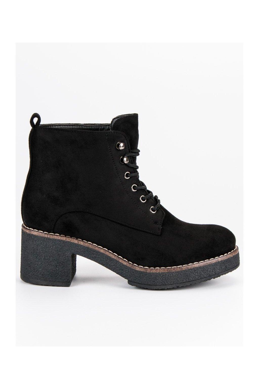 Čierne semišové topánky na podpätku BM129B
