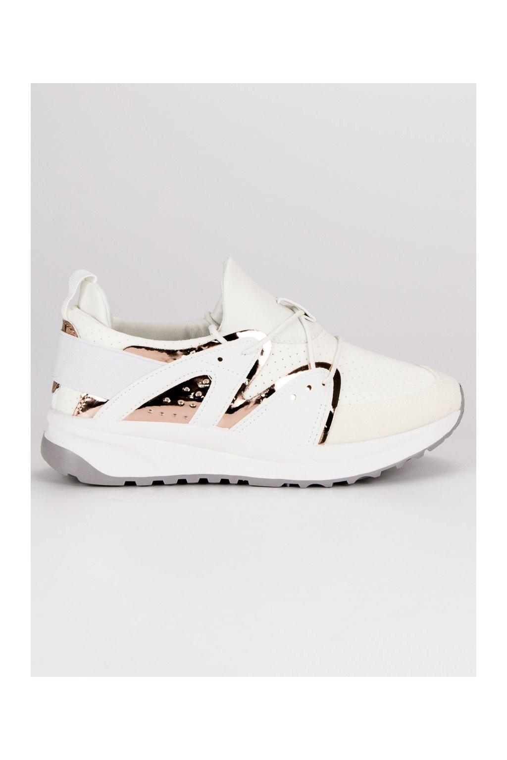 Štýlové športové topánky biele botasky SJ1781W