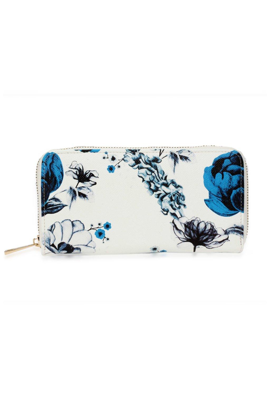 Bielo modrá peňaženka pre ženy Floral Print AGP1108