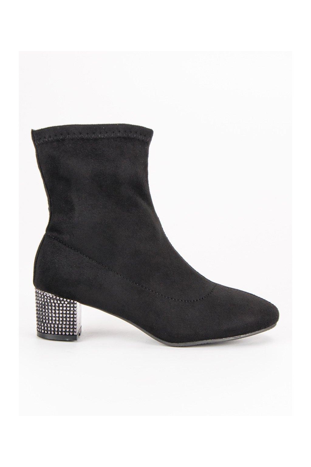 Dámske čierne nazúvacie topánky s ozdobenou pätou Kylie