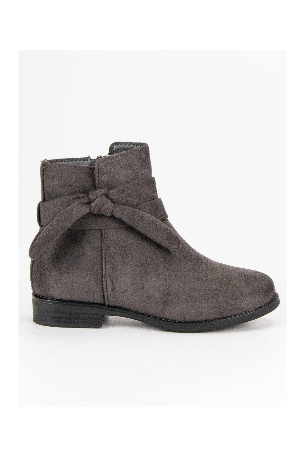 Dievčenské sivé topánky semišové členkové čižmy Vinceza