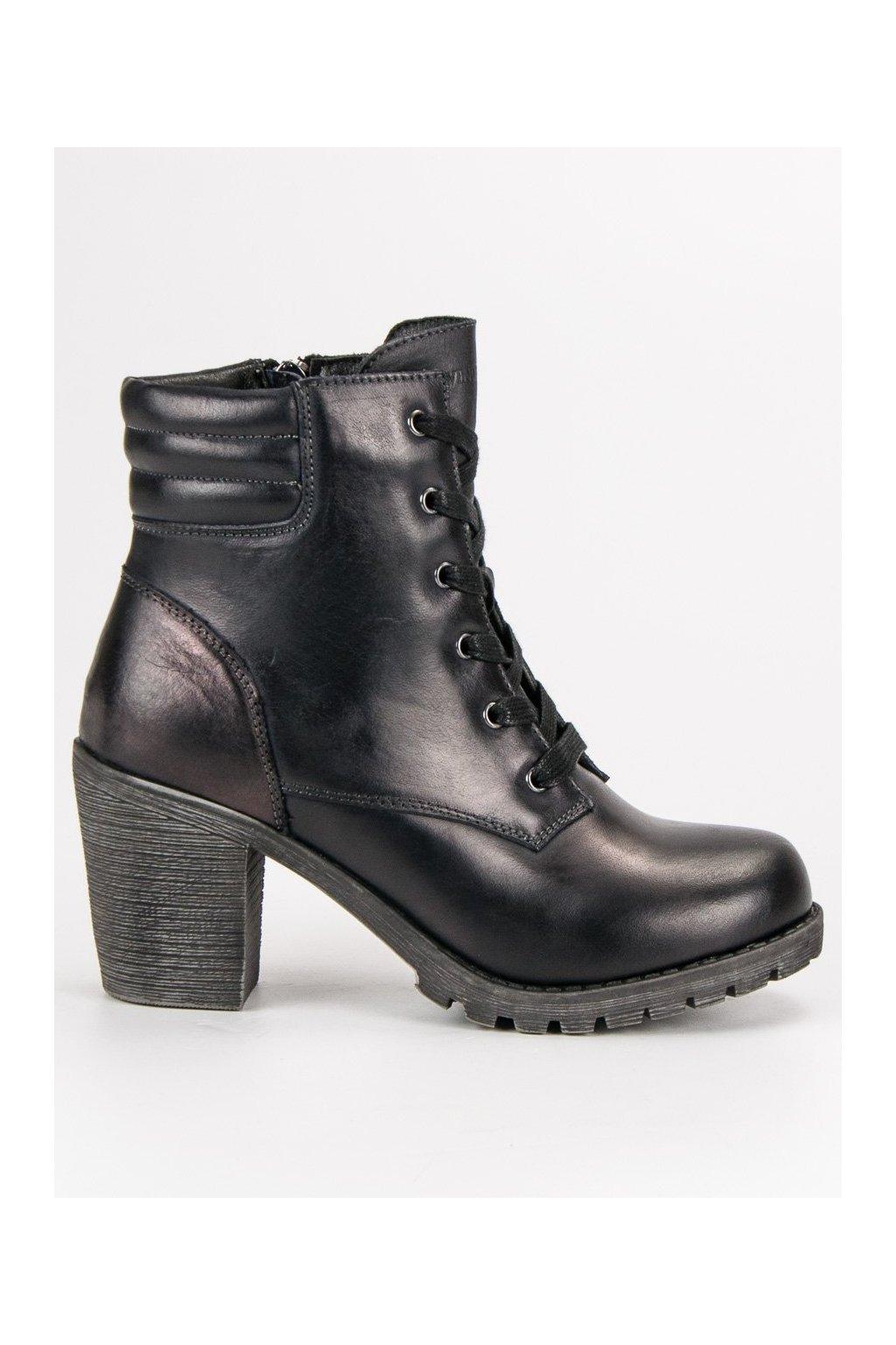 Čierne topánky pre ženy členkové čižmy na opätku VINCEZA c861c37fcf7