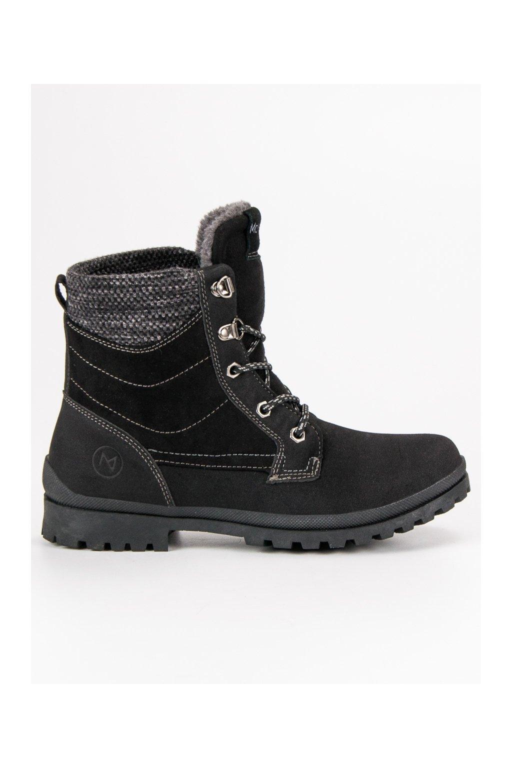 Čierne trapery dámske členkové topánky na zimu MCKEYLOR