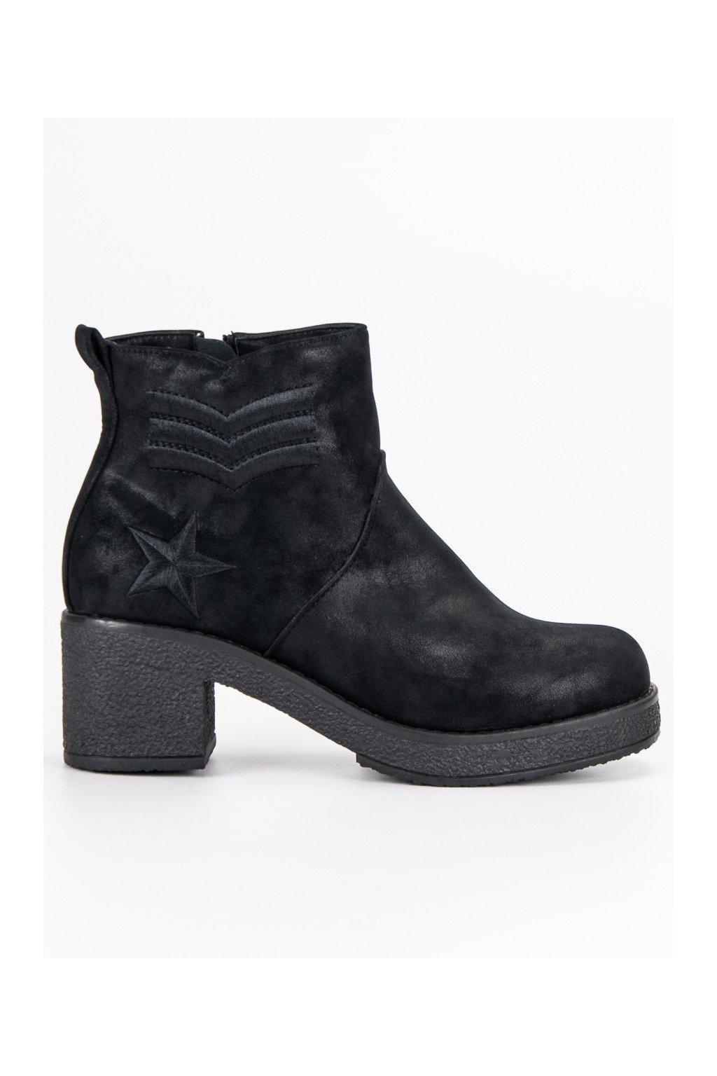 Dámske členkové topánky čierne vojenské čižmy Kylie 5717f0735cf