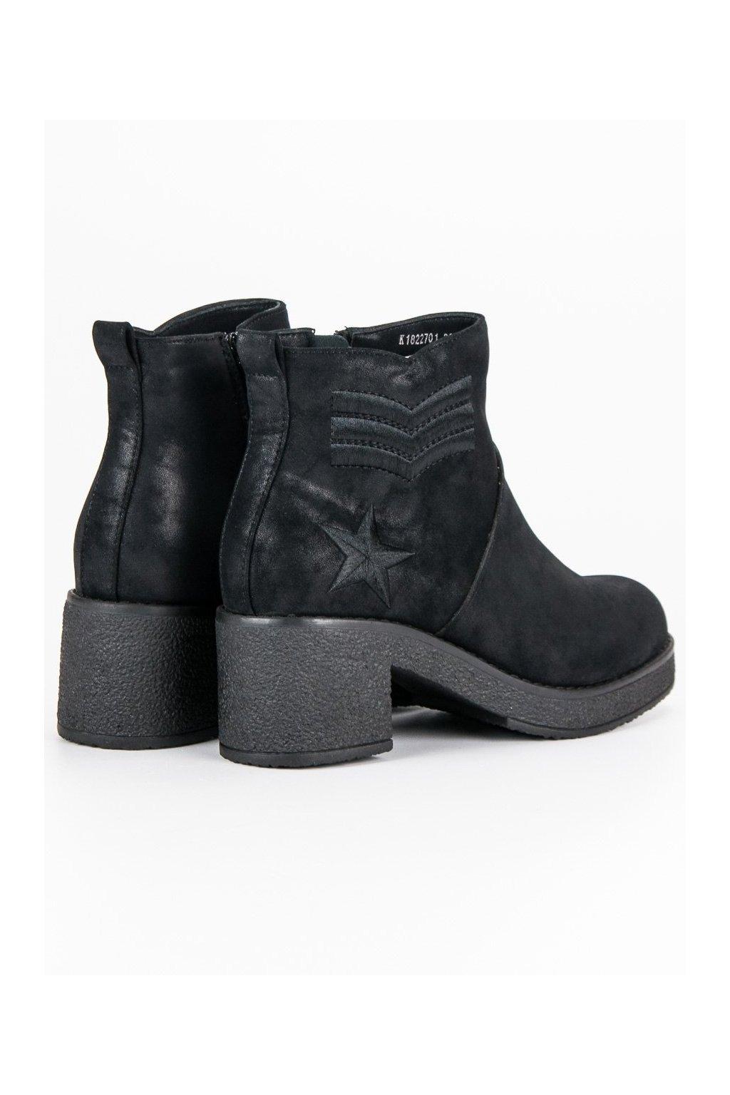 Dámske členkové topánky čierne vojenské čižmy Kylie 51ccc4590fa