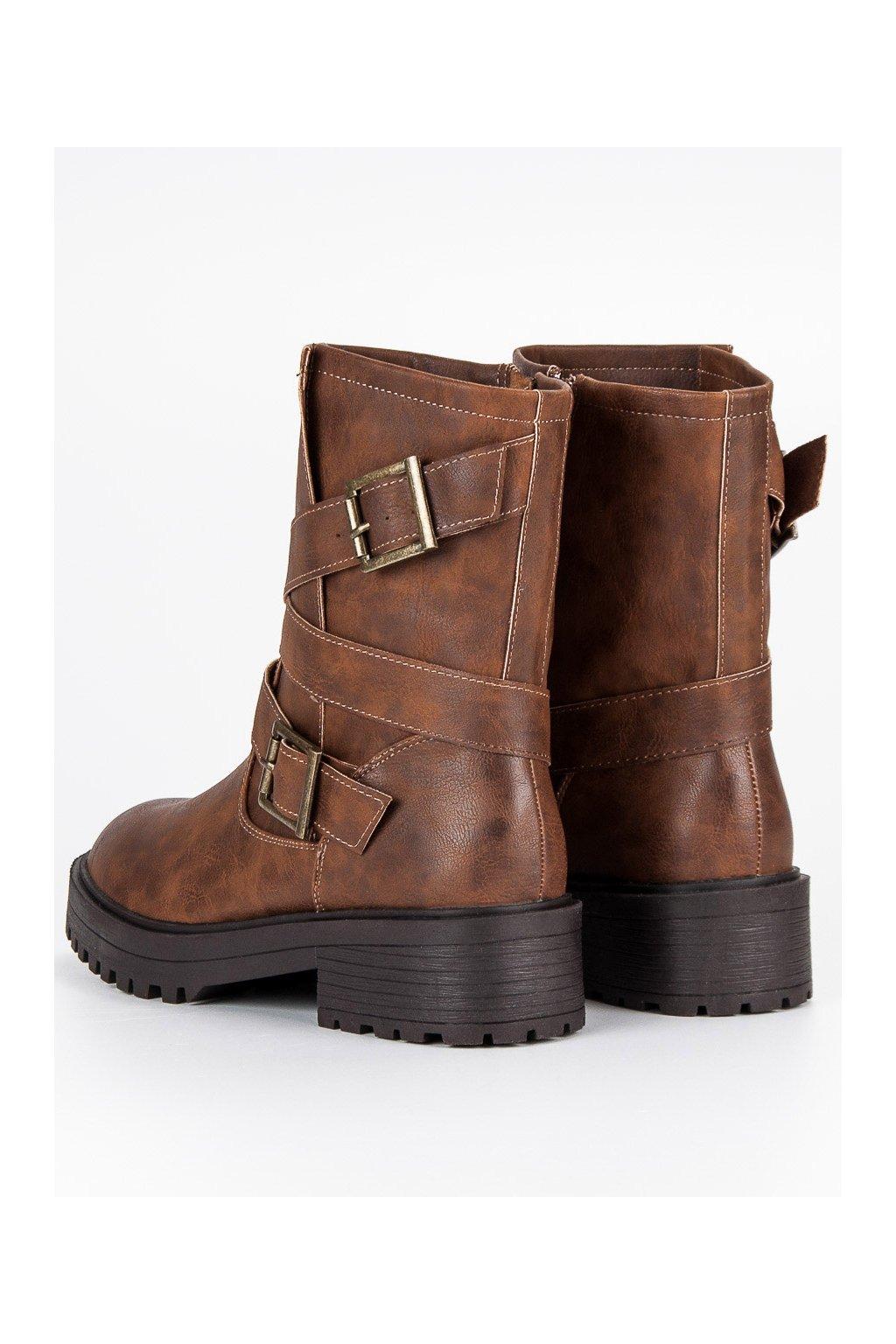 Dámske členkové casual topánky hnedé C7849CU 4a901f8902d