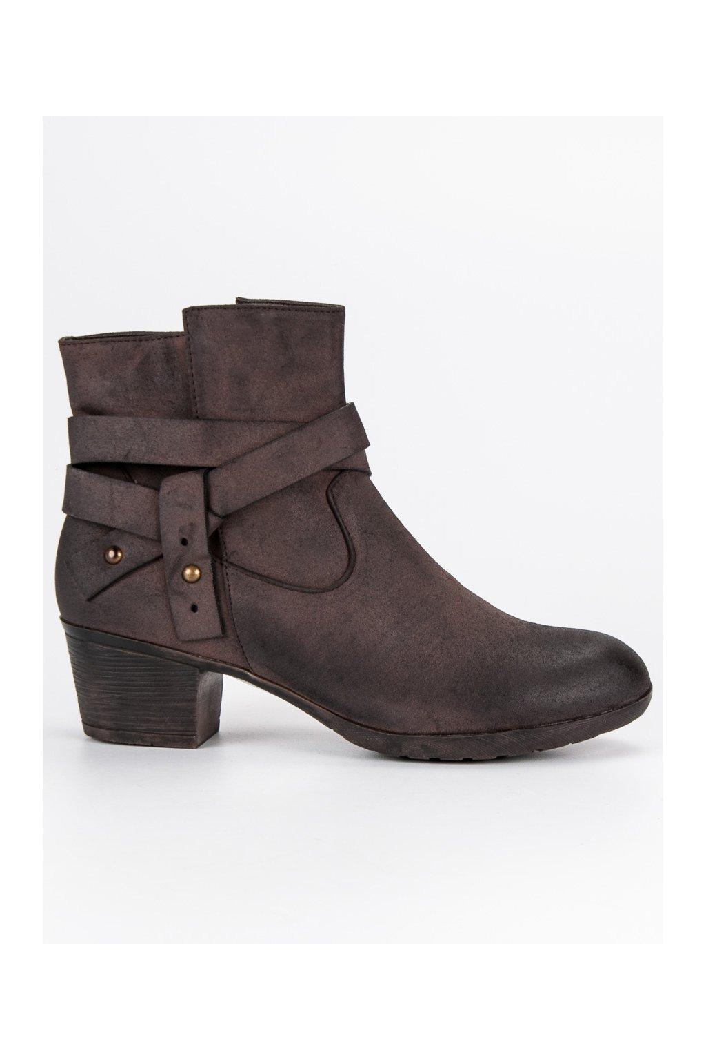 Členkové hnedé topánky členkové čižmy s hrubou podrážkou CnB d8b8baa1fa2