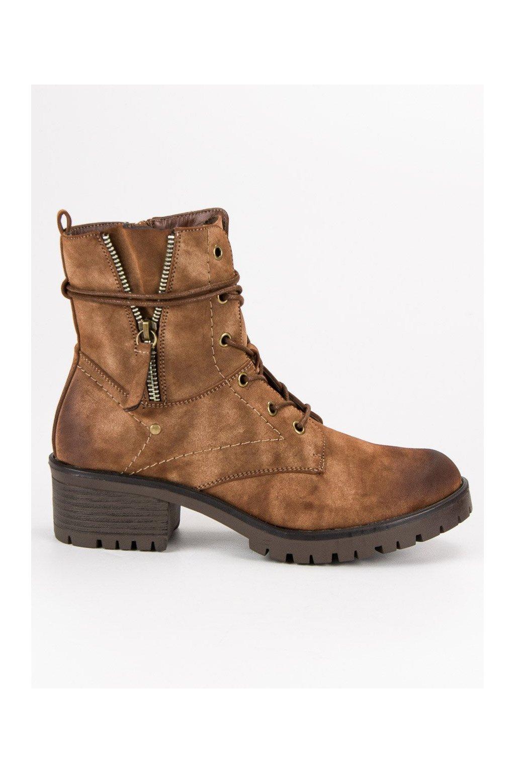 Dámske béžové workery vysoká obuv VINCEZA 41eec265599