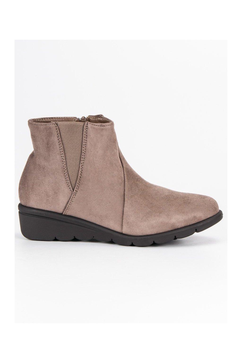 Dámske béžové topánky semišová členková obuv Kylie 1b2049e8171