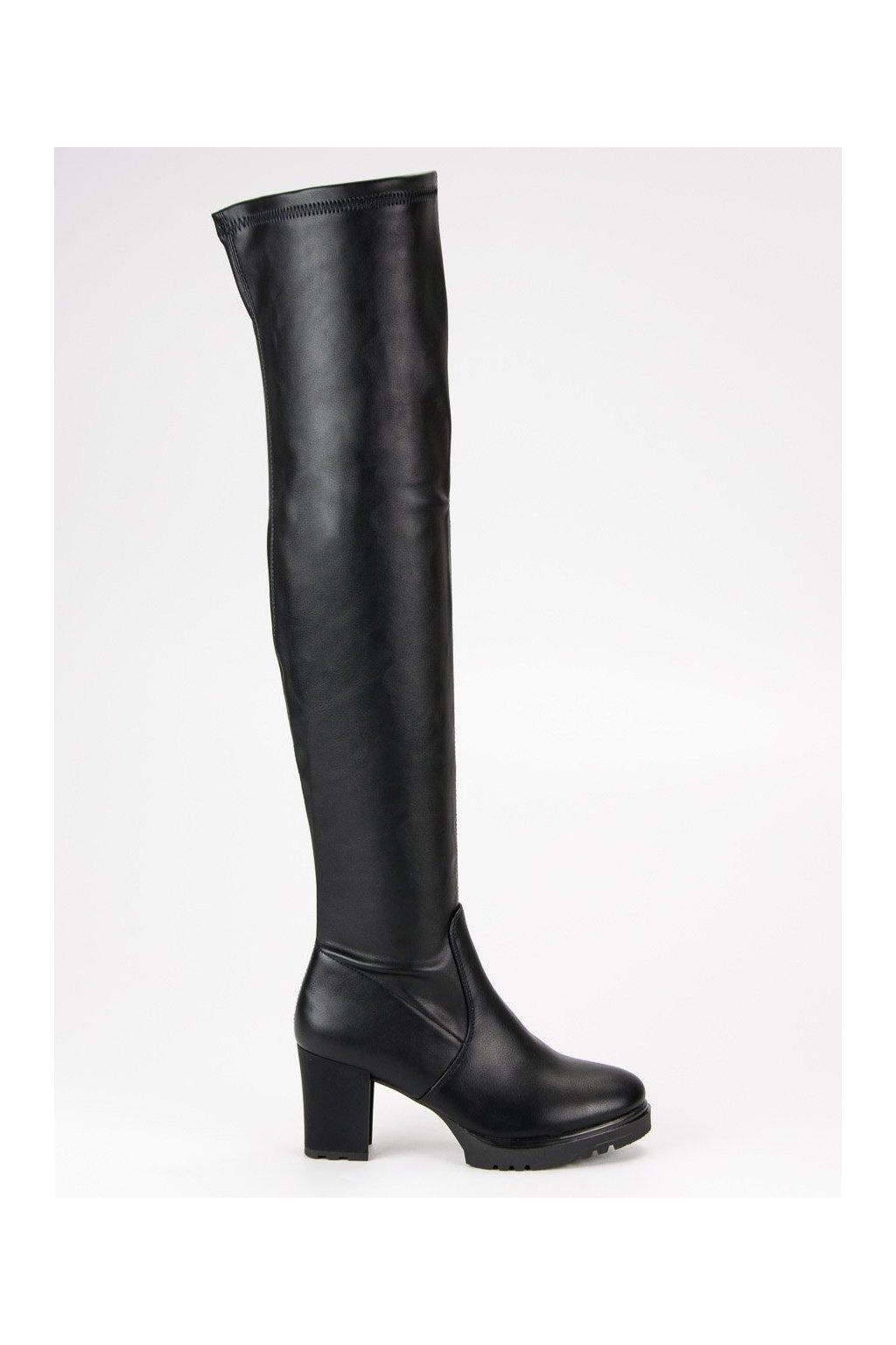 Čierne kozačky vysoké čižmy nad koleno na platforme CnB 6dd76460a04