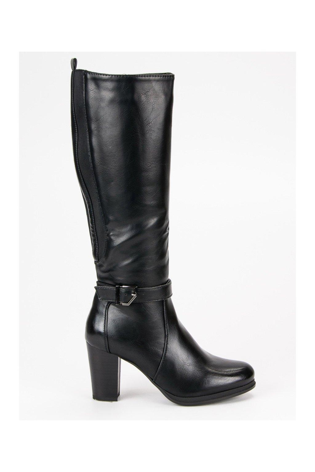 Zateplené kozačky čierne čižmy pod kolená Filippo 098c3d7d554
