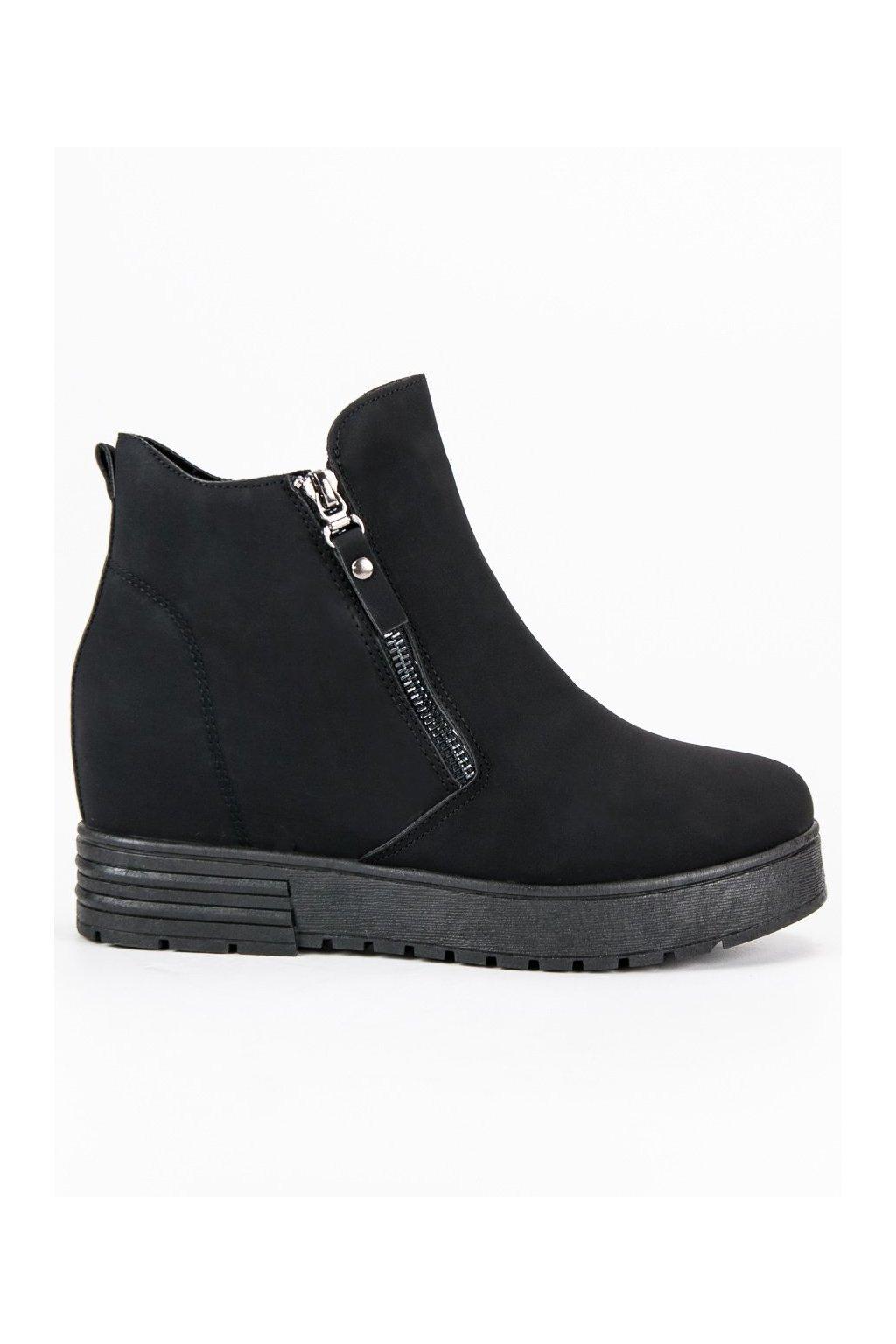 Matné topánky čierne platformové tenisky so skrytou pätou CnB 6ae7e5a4ae0