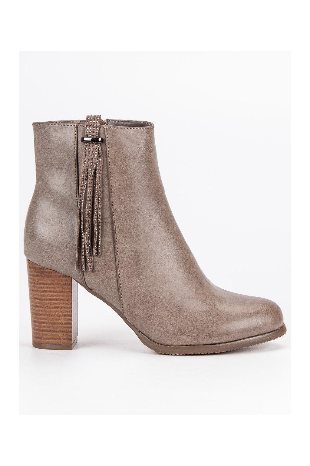 Klasické topánky sivé členkové čižmy na opätku Super Mode 7a104ffa54f