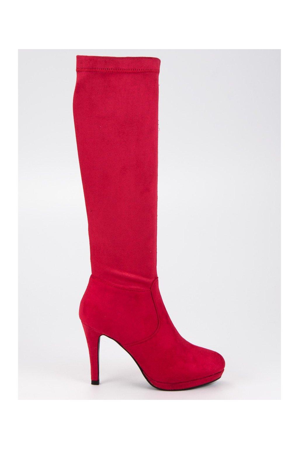 Dámske červené čižmy pod koleno Small Swann cc3e3c09767