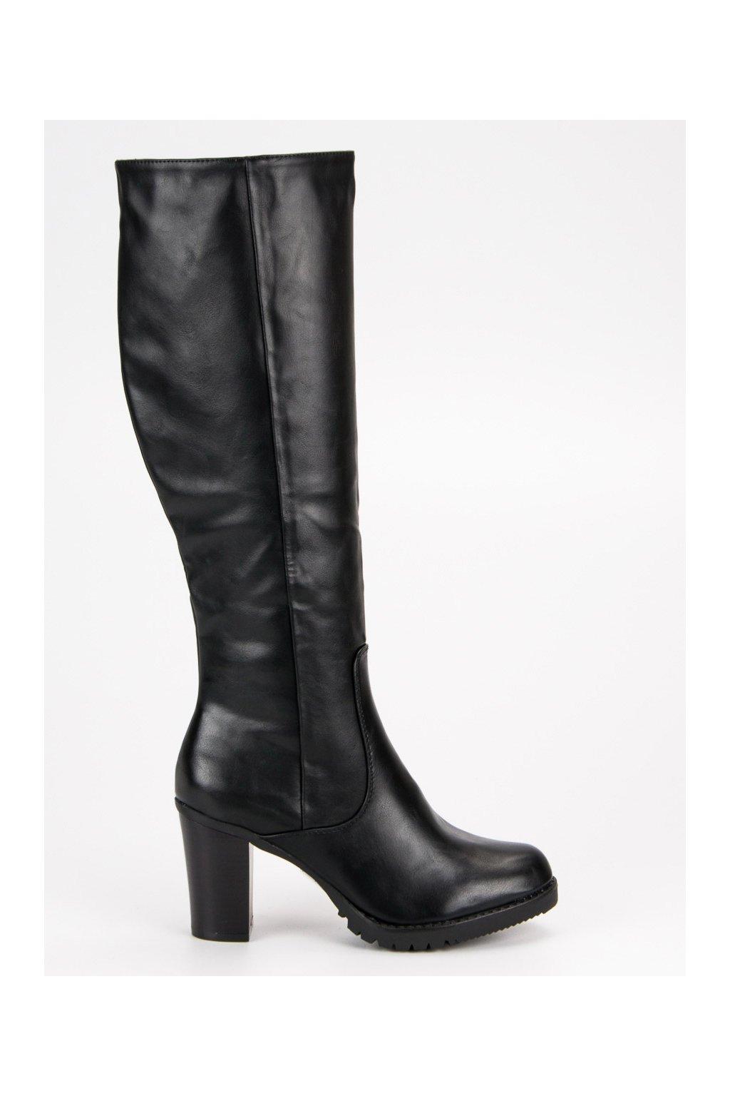 Klasické dámske čižmy čierne HX19-16029B b88d0e7527d