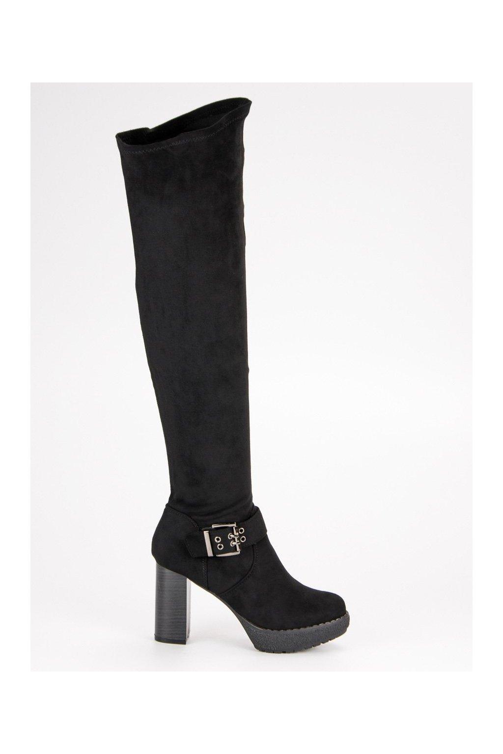 Čierne čižmy s viazaním nad koleno s prackou Super Me 862-GG-B  22f158d6b13