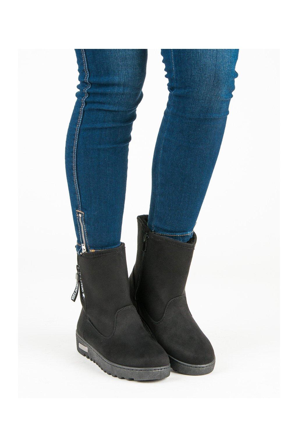 Za teplené čierne topánky semišové snehule McKeylor Za teplené čierne  topánky semišové snehule McKeylor ... 3455e6d2f54