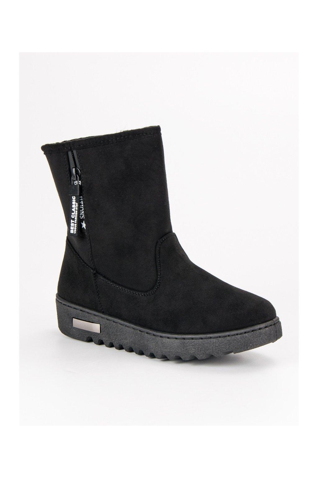 Za teplené čierne topánky semišové snehule McKeylor ANN19-14401B 4e0a0128d9e