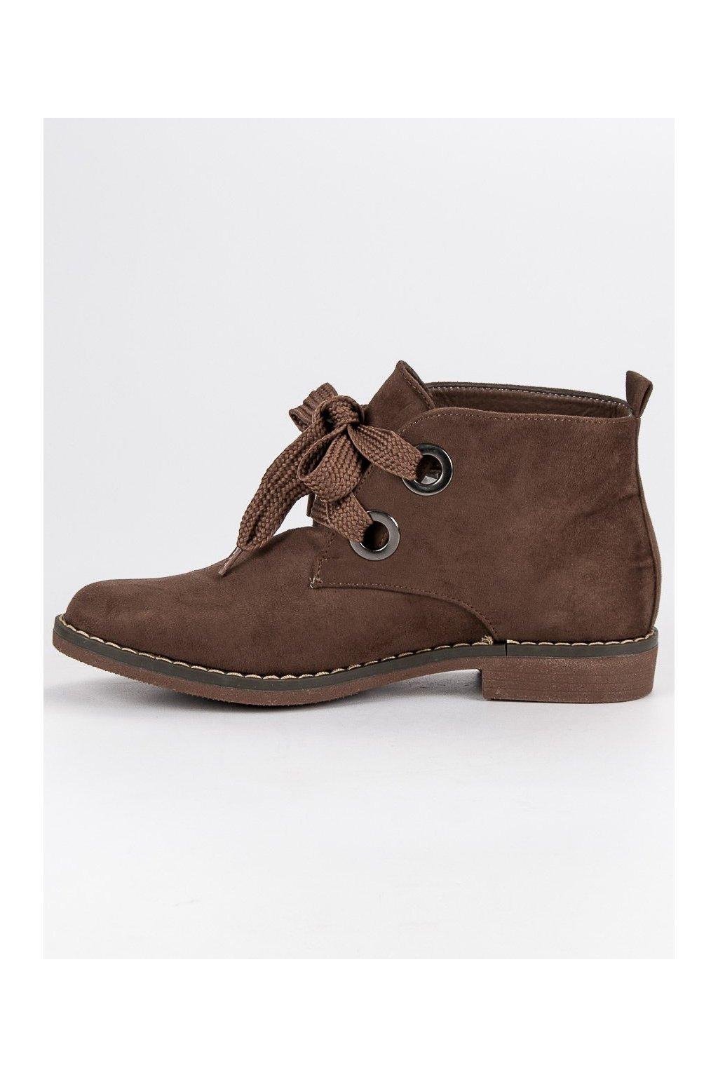 ... Béžové topánky semišové čižmičky s výrazným viazaním Super Mode ... 2b4625b3e42