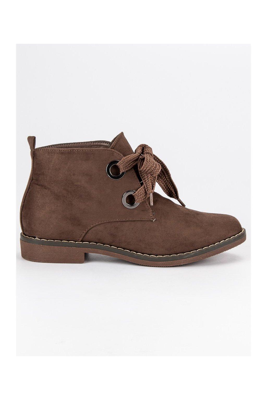 Béžové topánky semišové čižmičky s výrazným viazaním Super Mode 1399KH 871b1d2f1f5