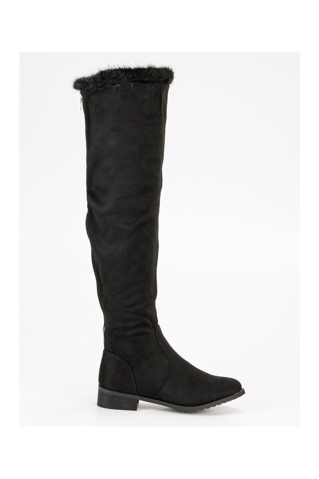 Čierne čižmy s kožušinou CM Paris 668-6B 718123ff5ac
