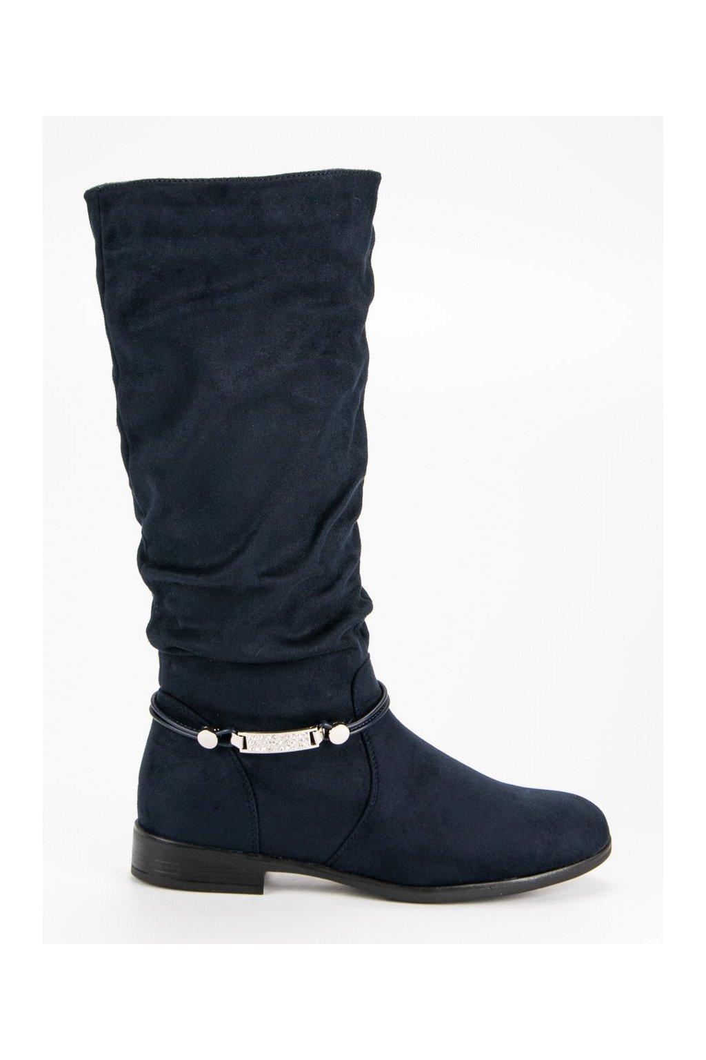 Tmavo modré čižmy pod kolena SDS e6e2ae156a4