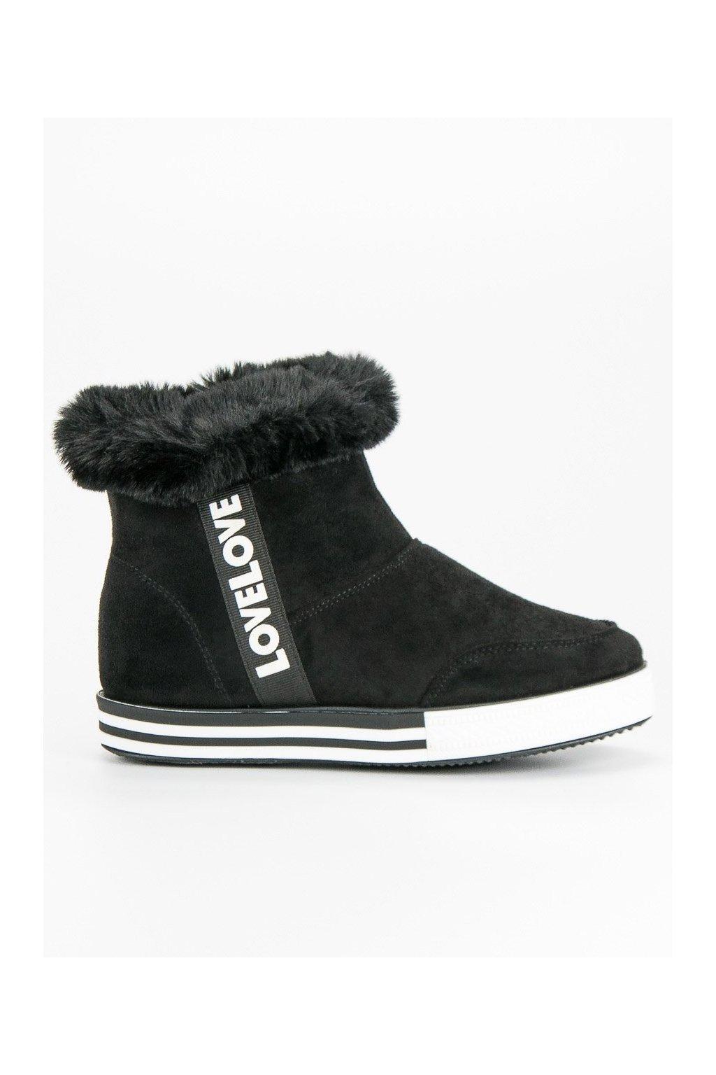Čierne zateplené tenisky Ideal Shoes c63d9d37e20