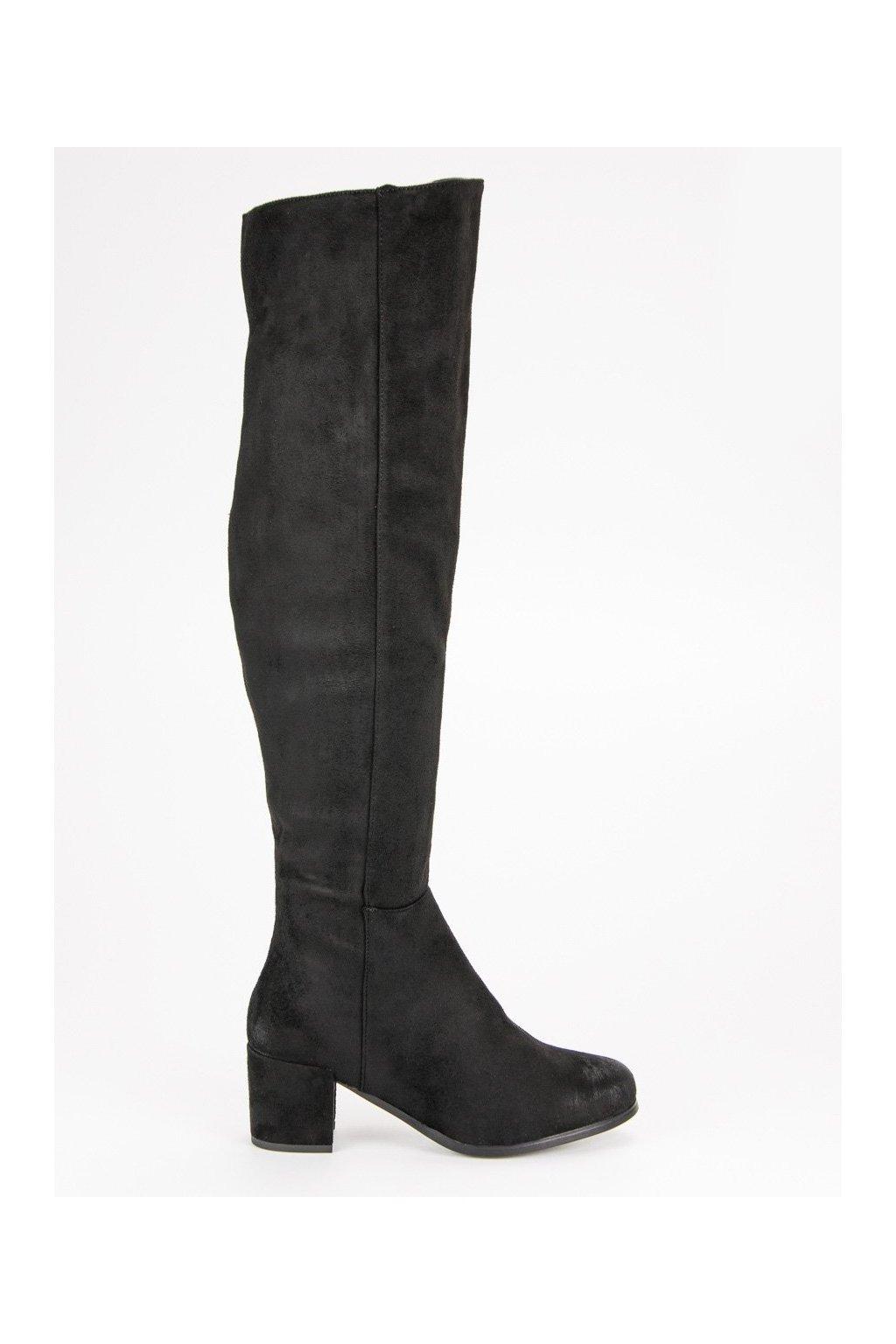 Vysoké čierne čižmy nad kolená VINCEZA YQE19-1770B