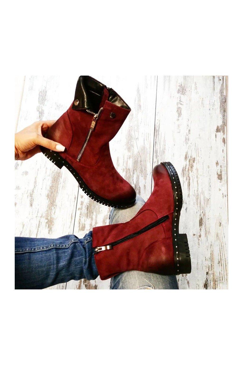 b235339b7 Bordové kožené topánky na zimu 1266/5DR.FU | NAJ.SK