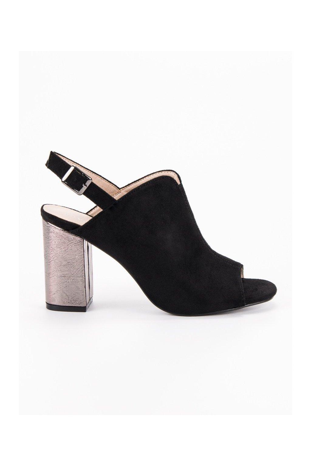 Čierne sandále na stĺpiku VINCEZA