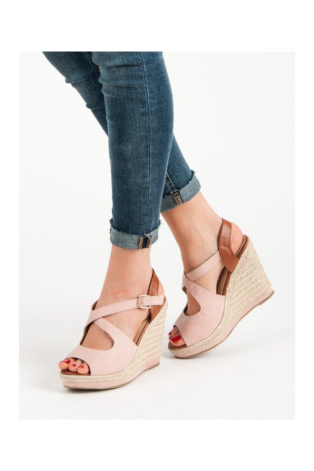 96422d9782 Ružové dámske sandále na platforme Laura mode LM-0205P