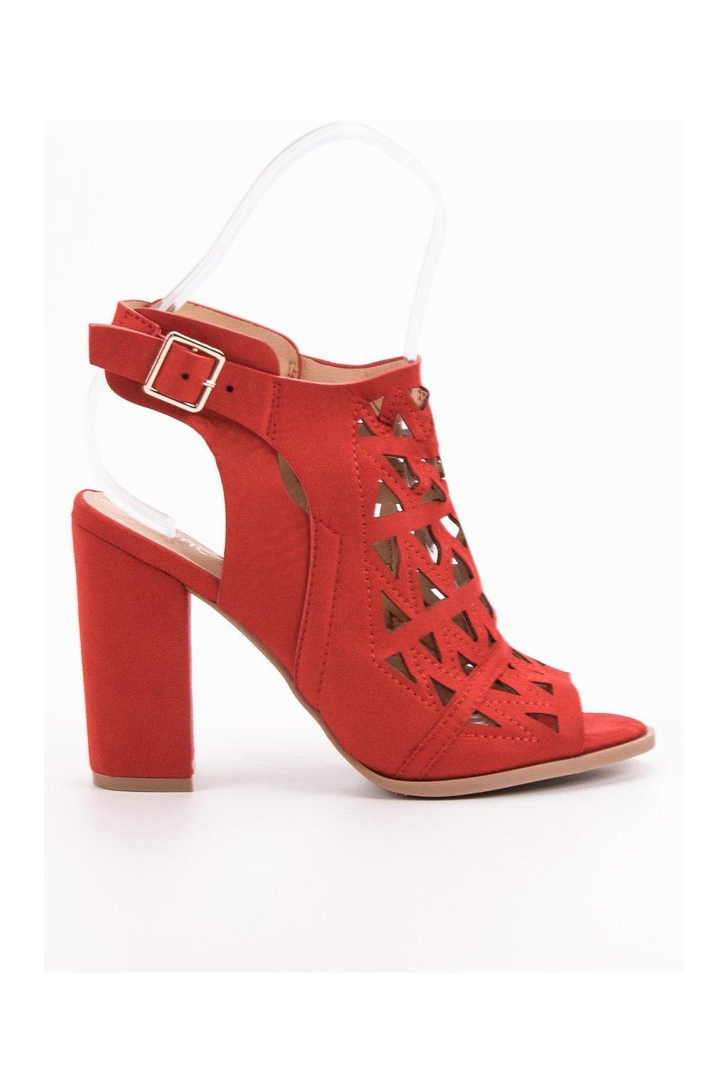 Červené dámske sandále na na stĺpiku Chc shoes N18-235R
