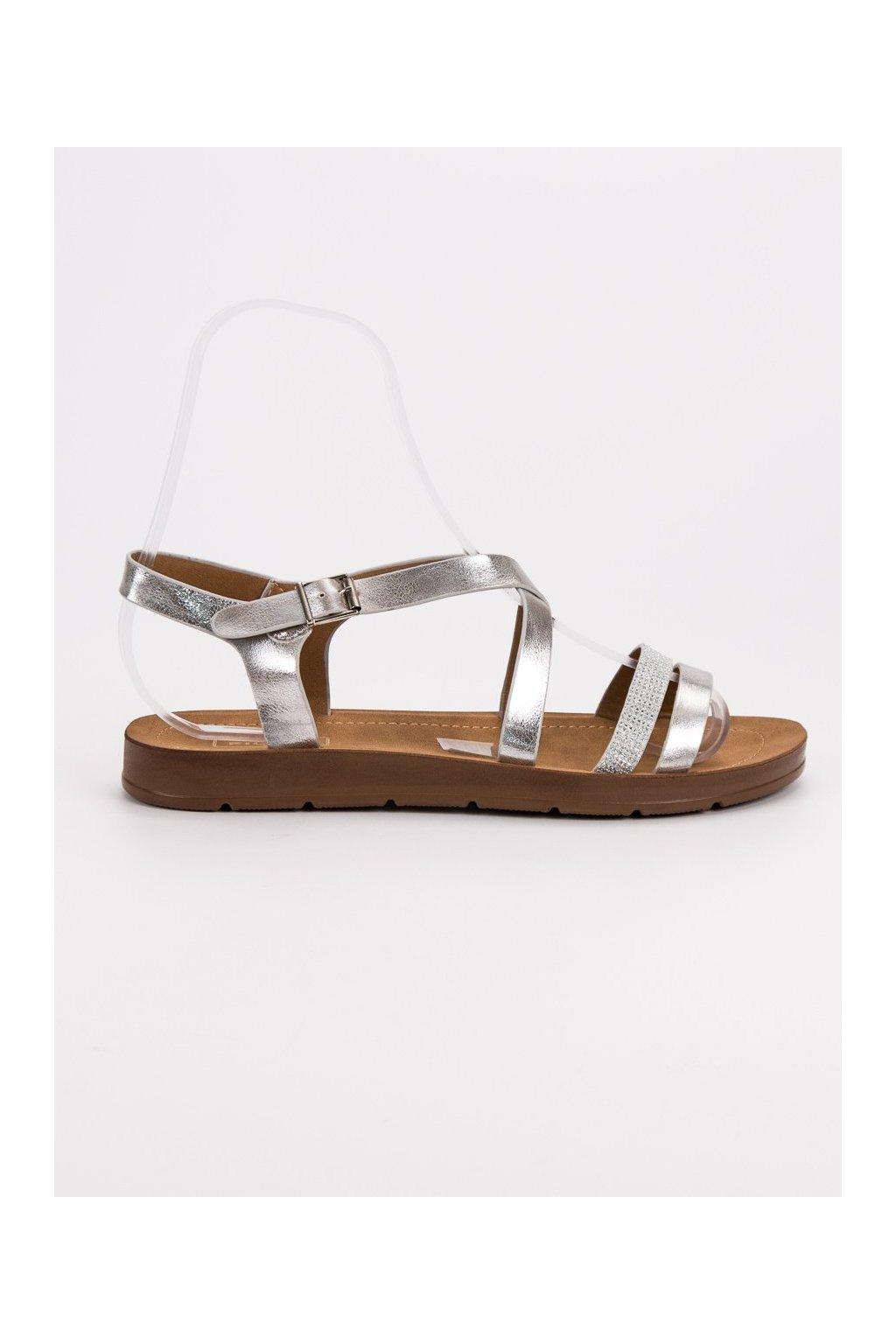 Strieborné sandále s kryštálmi Filippo DS803/19S