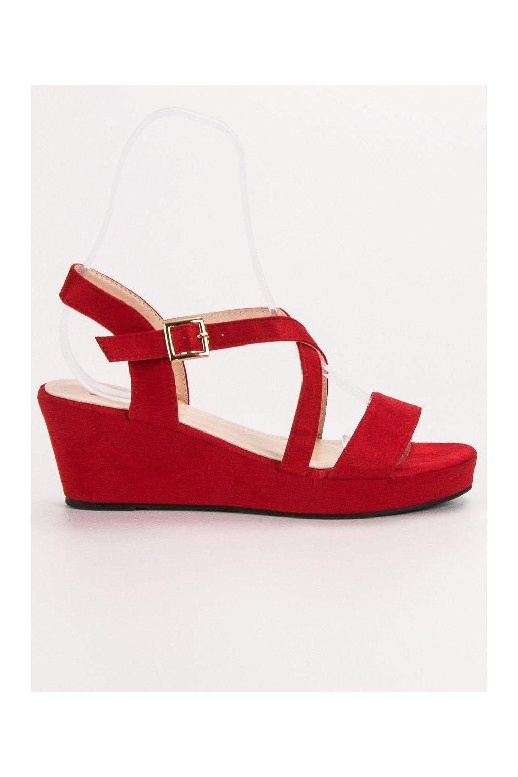 Červené dámske sandále na platforme Shelovet K-3R
