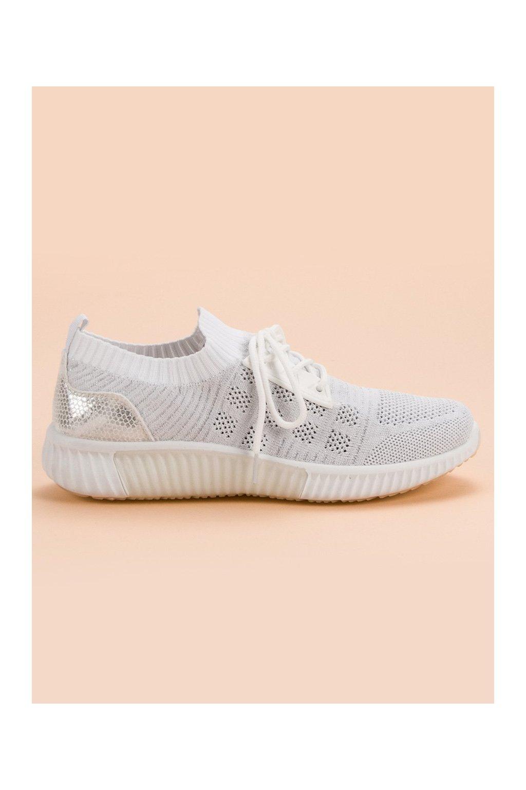 2bb40519c9 Biele tenisky sneakery s brokátom CnB